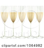 Clipart Five 3d Champagne Flutes Royalty Free Vector Illustration by elaineitalia