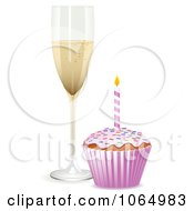 Clipart 3d Birthday Cupcake And Champagne Royalty Free Vector Illustration by elaineitalia