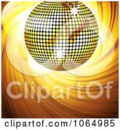 Clipart 3d Gold Disco Ball With Sparkles And A Swirl Royalty Free Vector Illustration
