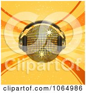 Clipart 3d Dj Disco Ball Over Orange Royalty Free Vector Illustration