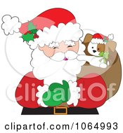 Clipart Christmas Puppy In Santas Sack Royalty Free Vector Illustration