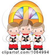 Clipart Trio Of Singing Altar Boys Royalty Free Vector Illustration
