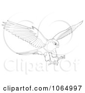 Clipart Outlined Falcon Reaching For Prey Royalty Free Illustration
