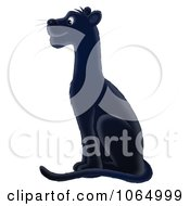 Clipart Sitting Black Panther Royalty Free Illustration by Alex Bannykh #COLLC1064999-0056