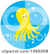 Yellow Octopus And Bubbles Royalty Free Vector Illustration