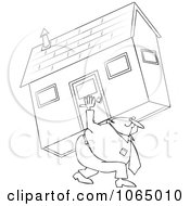 Clipart Outlined Man Carrying A House Royalty Free Vector Illustration