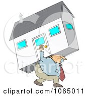 Clipart Man Carrying A House Royalty Free Vector Illustration