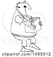 Outlined Man Carrying A Box Of Files