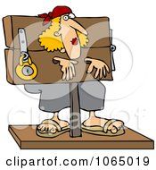 Clipart Woman Locked In Stocks Royalty Free Vector Illustration