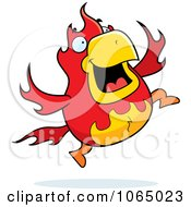 Clipart Chubby Phoenix Jumping Royalty Free Vector Illustration