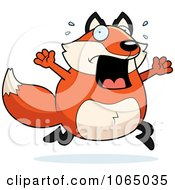 Clipart Chubby Fox Running Scared Royalty Free Vector Illustration