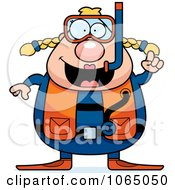 Clipart Chubby Female Scuba Diver With An Idea Royalty Free Vector Illustration