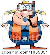 Clipart Chubby Female Scuba Diver Royalty Free Vector Illustration