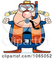 Clipart Mad Chubby Female Scuba Diver Royalty Free Vector Illustration by Cory Thoman