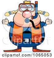Clipart Chubby Female Scuba Diver Shrugging Royalty Free Vector Illustration