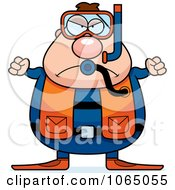 Clipart Mad Chubby Male Scuba Diver Royalty Free Vector Illustration by Cory Thoman