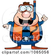 Clipart Chubby Male Scuba Diver With An Idea Royalty Free Vector Illustration