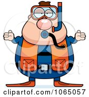 Clipart Chubby Male Scuba Diver Shrugging Royalty Free Vector Illustration by Cory Thoman