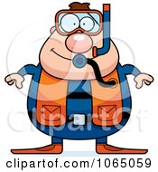 Clipart Chubby Male Scuba Diver Royalty Free Vector Illustration