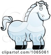 Clipart Chubby White Horse Royalty Free Vector Illustration