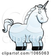 Clipart Chubby White Unicorn Royalty Free Vector Illustration by Cory Thoman