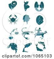 Clipart Teal Astrology Symbols Royalty Free Vector Illustration