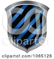 Clipart 3d Blue Hazard Striped Shield Royalty Free Vector Illustration