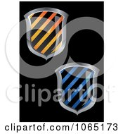Clipart 3d Hazard Striped Shields Royalty Free Vector Illustration