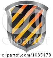 Clipart 3d Hazard Striped Shield Royalty Free Vector Illustration