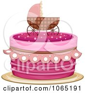 Clipart Pink Baby Pram Cake Royalty Free Vector Illustration by BNP Design Studio