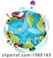 Clipart Hot Air Balloons And Vehicles Around A Globe Royalty Free Vector Illustration by BNP Design Studio