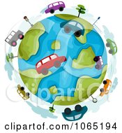 Clipart Cars Around A Globe Royalty Free Vector Illustration by BNP Design Studio
