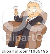 Clipart Retired Businessman Holding Wine Royalty Free Vector Illustration