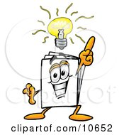 Clipart Picture Of A Paper Mascot Cartoon Character With A Bright Idea