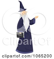 Clipart Wizard Carrying A Book Royalty Free Vector Illustration