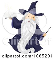 Clipart Wizard With A Magic Book And Wand Royalty Free Vector Illustration by BNP Design Studio