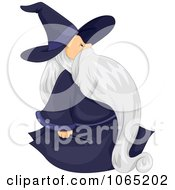 Clipart Chubby Wizard Walking Royalty Free Vector Illustration