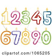 Clipart Numbered Birthday Candles Royalty Free Vector Illustration