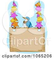Clipart Blue Jay And Shells On A Sign Royalty Free Vector Illustration