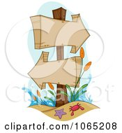 Clipart Wooden Beach Signs Royalty Free Vector Illustration