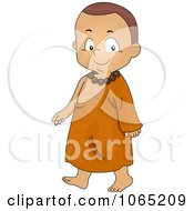 Clipart Monk Boy Walking Royalty Free Vector Illustration