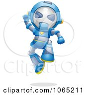 Clipart Victorious Robot Jumping Royalty Free Vector Illustration