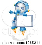 Clipart Robot Flying With A Sign Royalty Free Vector Illustration