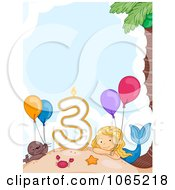 Clipart Mermaid By A Third Birthday Candle Royalty Free Vector Illustration by BNP Design Studio