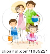 Clipart Stick Family At The Beach Royalty Free Vector Illustration by BNP Design Studio