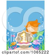 Clipart Mermaid Presenting A First Birthday Candle Royalty Free Vector Illustration by BNP Design Studio
