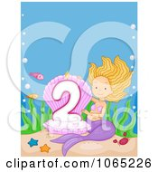 Clipart Mermaid Presenting A Second Birthday Candle Royalty Free Vector Illustration by BNP Design Studio