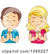 Clipart Boy And Girl Praying Royalty Free Vector Illustration