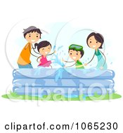 Clipart Stick Family Playing In A Kiddie Pool Royalty Free Vector Illustration