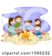 Clipart Stick Family Having A Bonfire At The Beach Royalty Free Vector Illustration